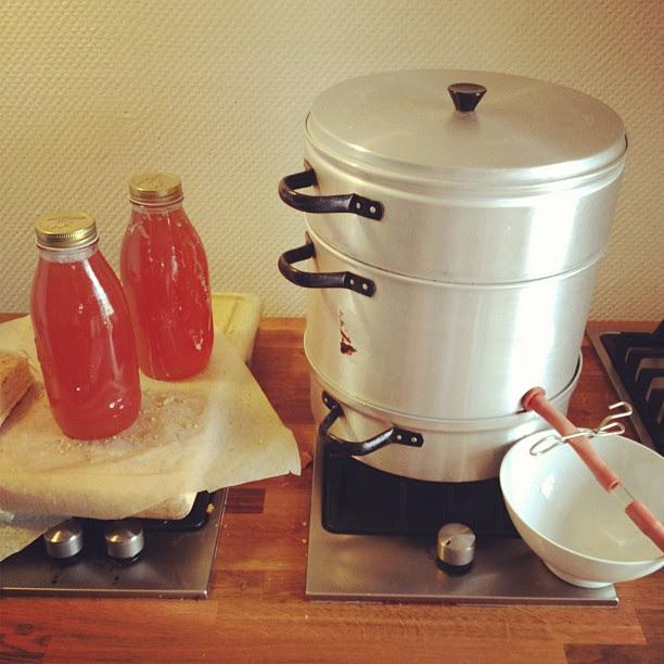 making rhubarb - vanilla juice