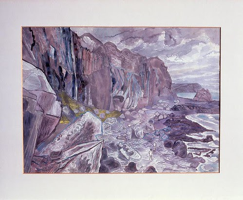 Cliffs and Waterfall, Carsaig by Edward Bawden 1950 pencil, watercolour (via fineart.ac.uk)