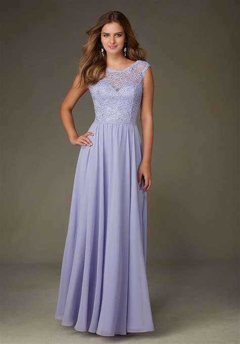 Chiffon Bridesmaid Dress with Beaded Lace Bodice   Style