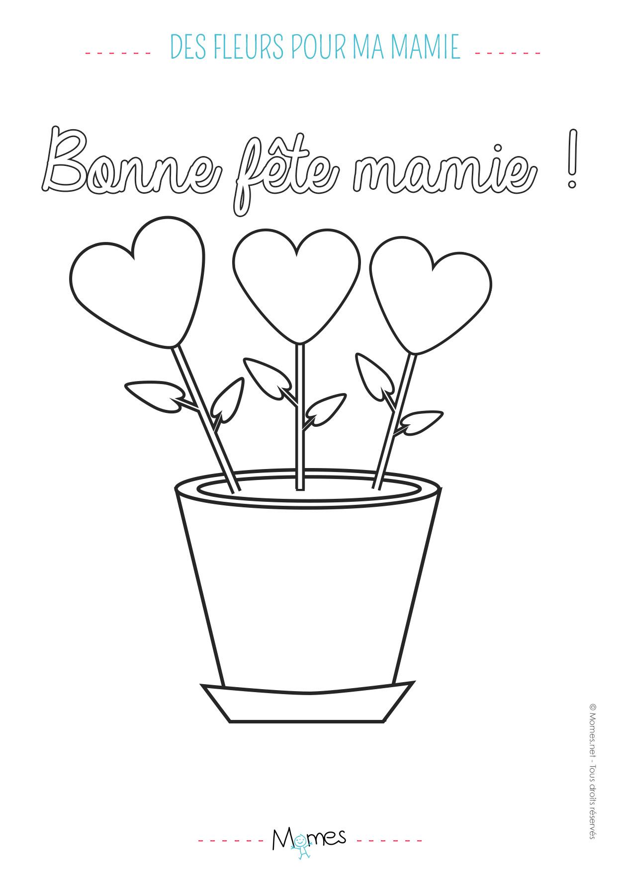 Coloriage Fête Des Grands Mères Un Bouquet De Coeurs Momesnet