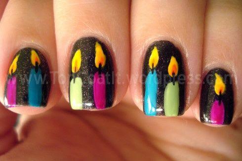 Hanukkah Candle Nail Art | #hanukkah #chanukkah #hanukkahnails #nailart