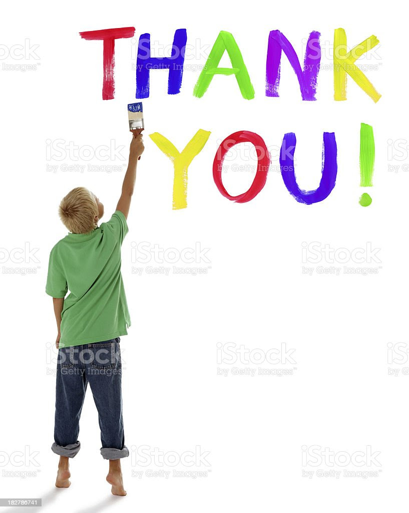 Child Painting Thank You On White Stock Photo 182786741 Istock