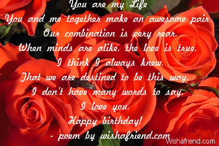 You Are My Life Love Birthday Poem
