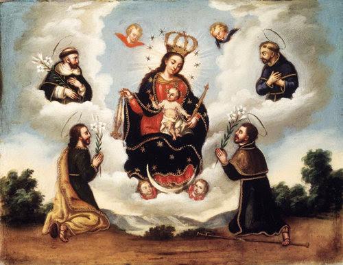 La Virgen María del Rosario con santos.