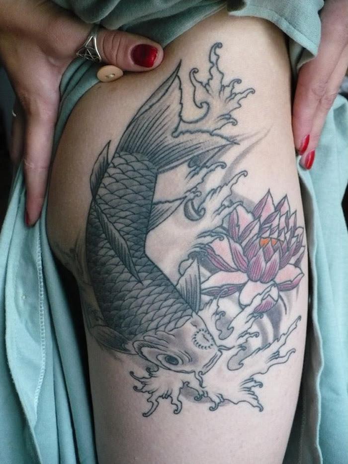 Lotus Flower And Koi Fish Back Tattoo For Men