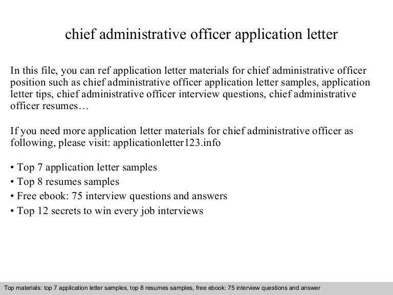 Chief Administrative Officer Application Letter