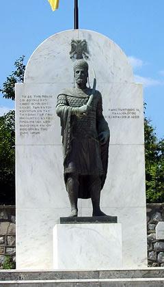 Estatua de Constantino XI, último emperador de Bizancio, muerto en el asedio de los otomanos