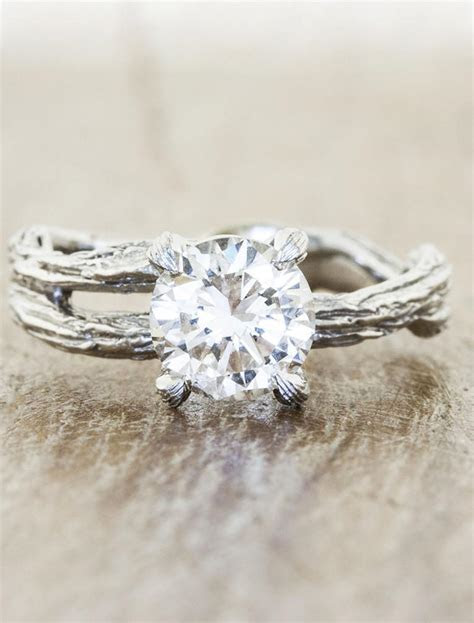 Mable: Diamond Solitaire, Bark Texture Split Shank Ring