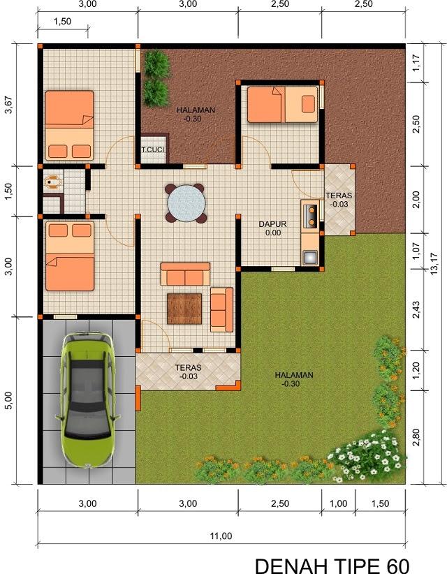 Desain Rumah Tipe 60 Hunian Nyaman dan Ideal Untuk