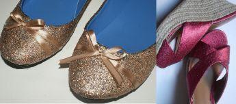 Recicla zapatos purpurina
