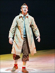 Russell Tovey as Tintin in the Old Vic's 2006 production