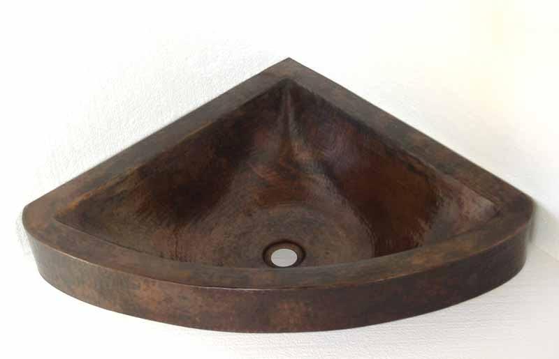 Copper Corner Sink Small Bathroom Sink Copper Vanity Sink Aria