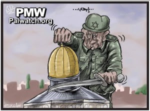 IDF soldier beheading Dome of the Rock. Image: PMW
