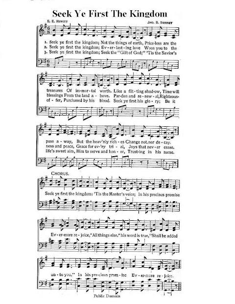 Seek Ye First The Kingdom Of God Lyrics Catholic