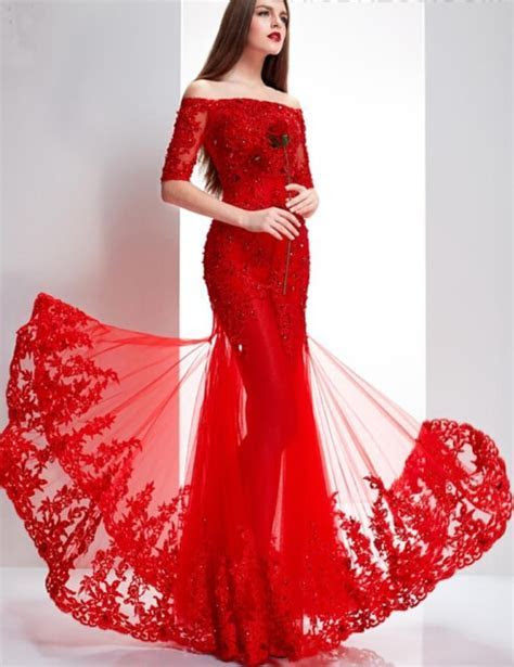 Chinese Red Prom Dresses Boat Neck Off the Shoulder Half
