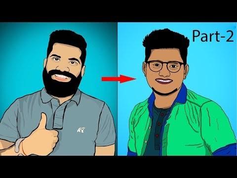 Photoshop Cartoon Design using Simple Brush Tools | Photoshop Artwork Tu...