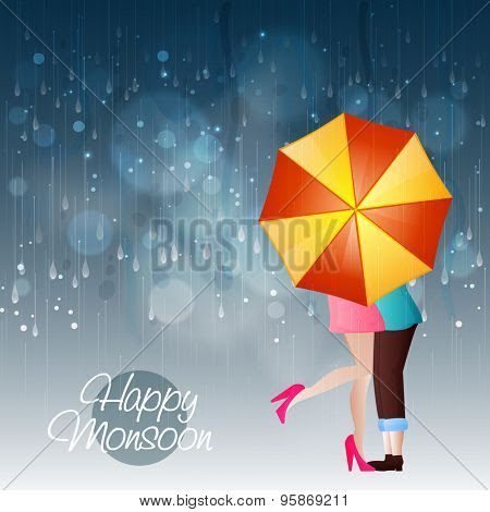 Young Couple In Love Under An Shiny Umbrella In A Rainy Day For