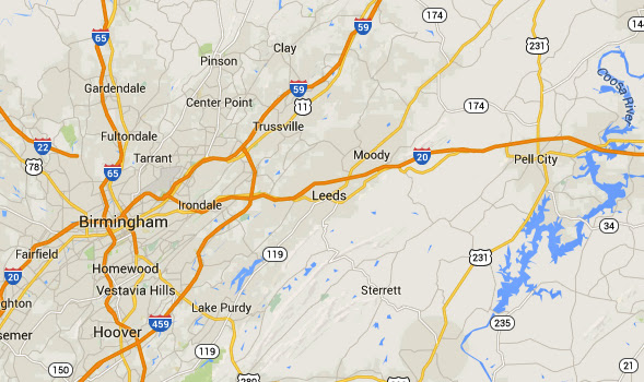 Pell City, AL, is about 34 miles directly east of Birmingham. (Credit: Google)