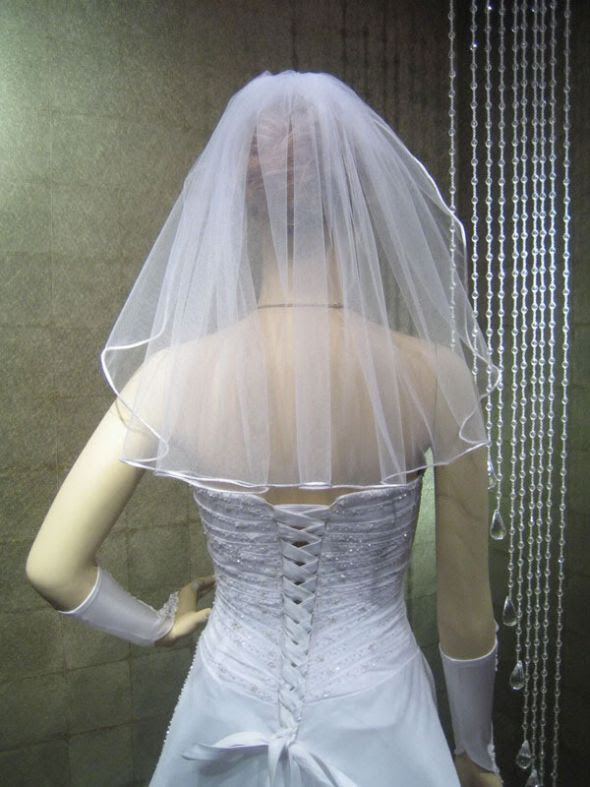 For Sale - 2 ivory veils and one cream veil :  wedding ivory veil edge fingertip V26 3