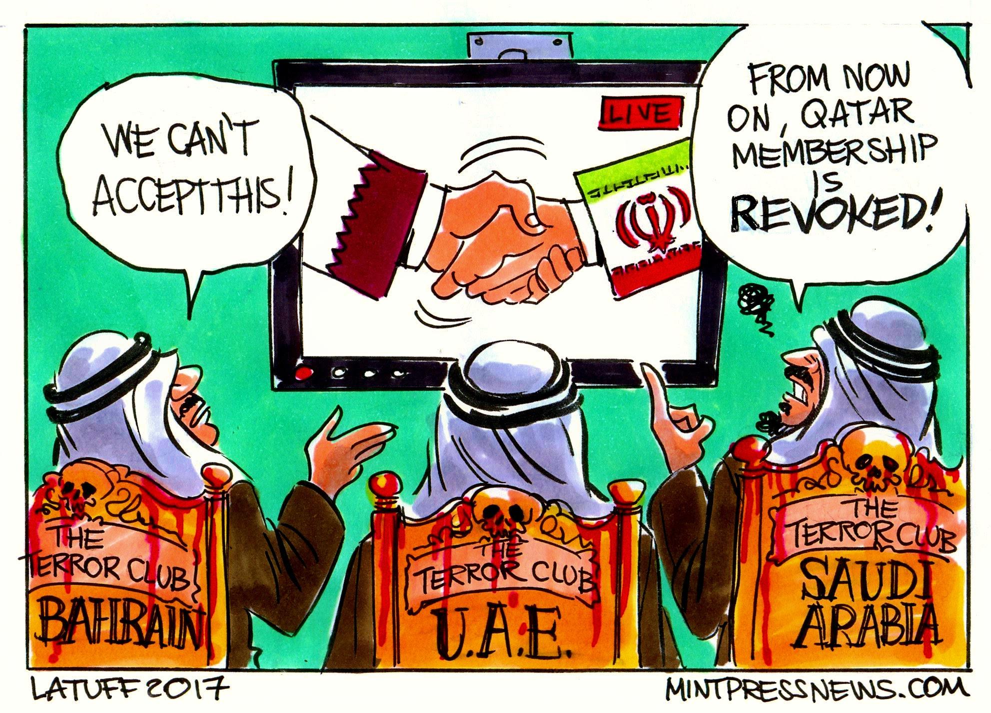 Saudi Arabia UAE Bahrain Egypt cut ties with Qatar over terrorism MintPressNews cartoon