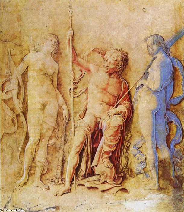 Marte, Venus y Diana, dibujo de Andrea Mantegna (1431-1506, Italy)