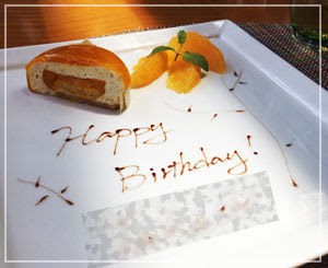 お誕生日プレートはマンゴーのムースケーキでした