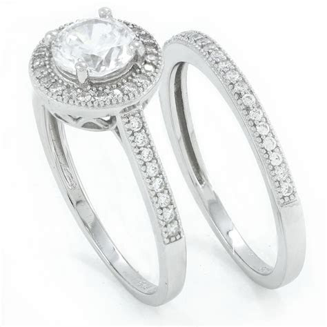 .925 sterling silver round cut simulated diamond
