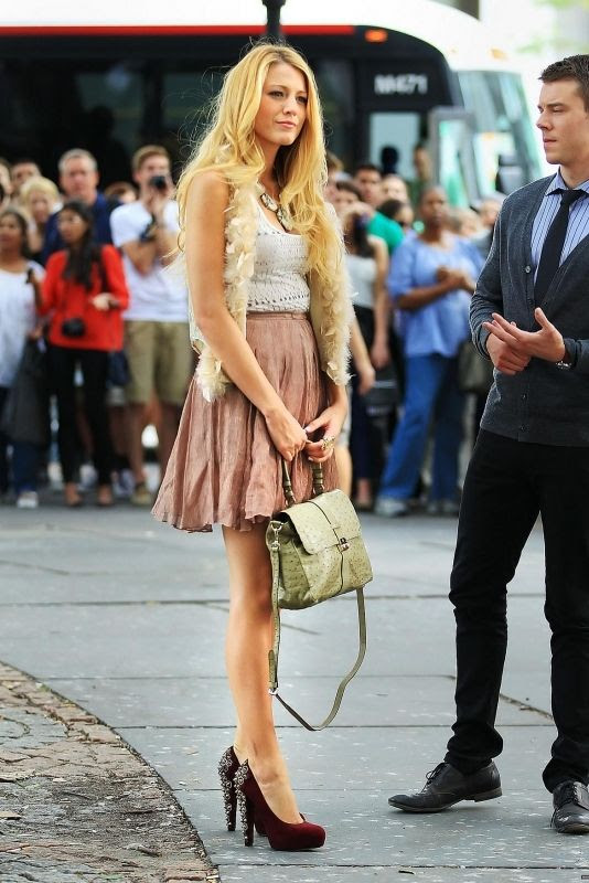 Blake Lively wearing Haute Hippie Feather Vest