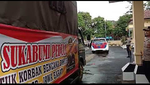 Kapolres Sukabumi melepas truk bantuan korban Bencana banjir di Bogor
