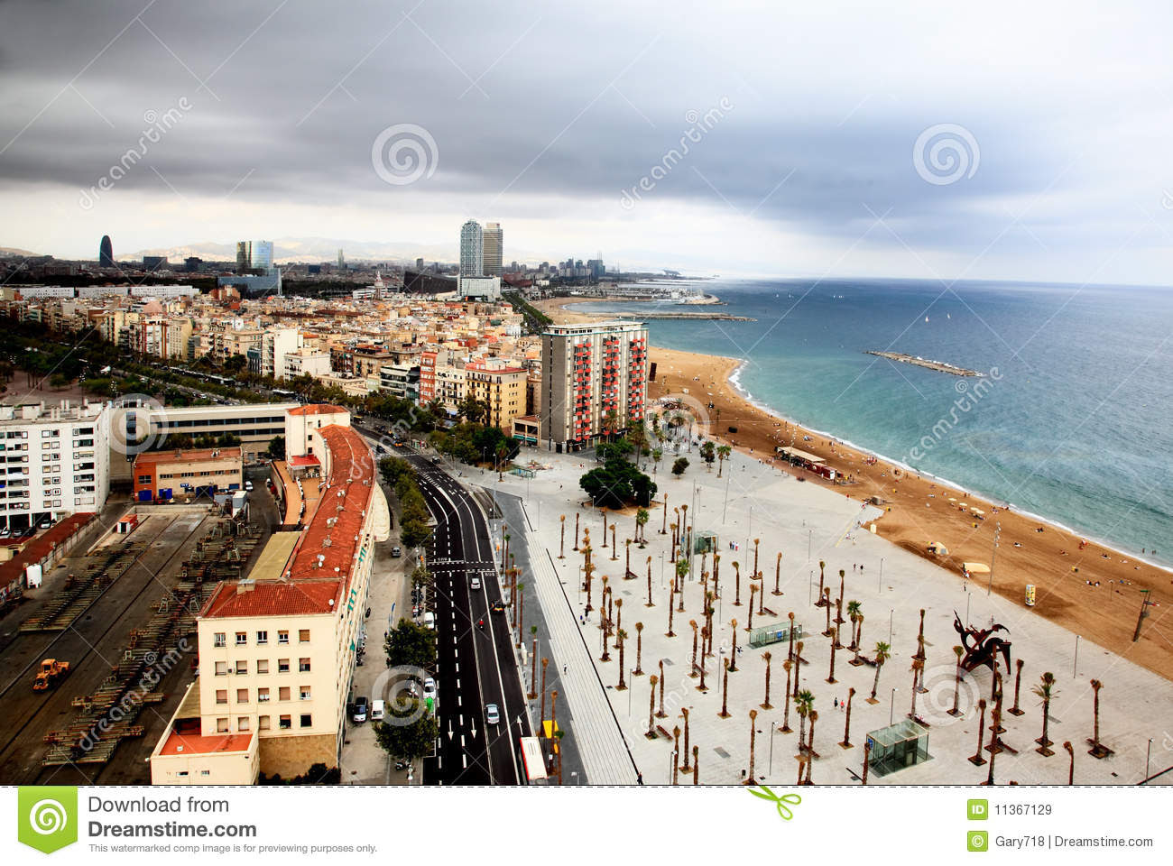 An Aerial View Of Barcelona City And Harbor Royalty Free ...