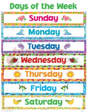 Printable Days of the Week | Cheap Charts: Days of the Week from ...