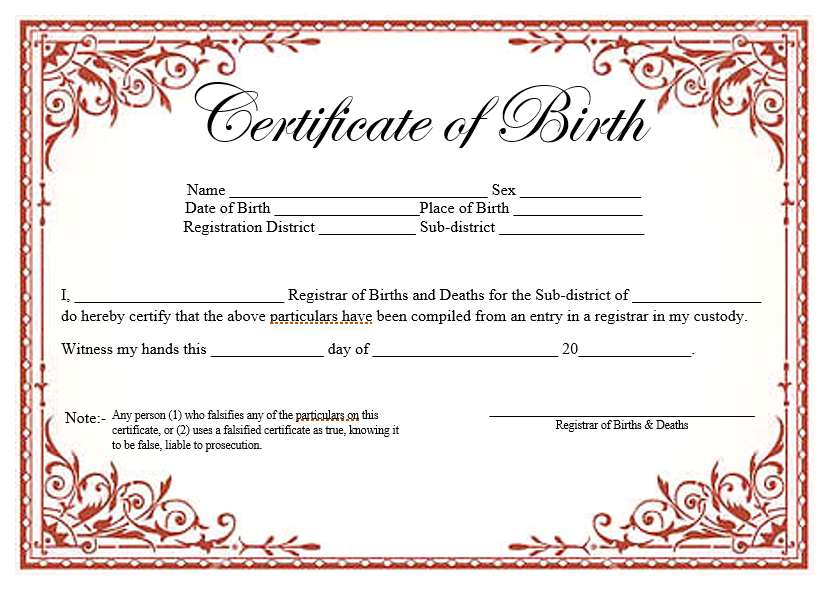 14 Free Birth Certificate Templates In Ms Word Pdf