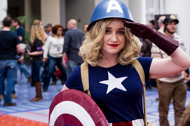 A woman attending AwesomeCon in cosplay.
