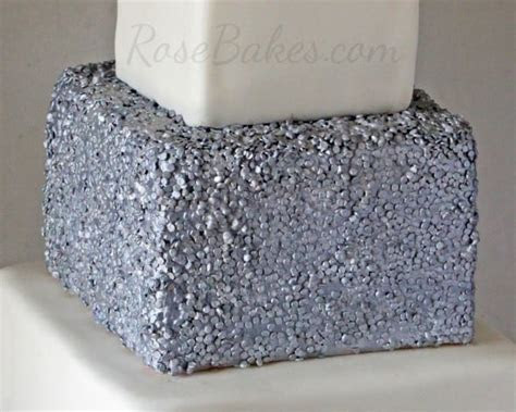 Silver Sequins Square Wedding Cake   Rose Bakes