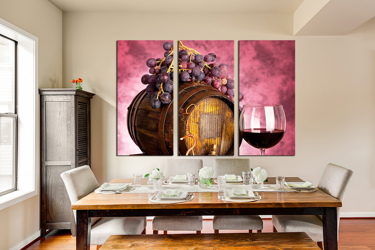 3 Piece Large Pictures Wine Artwork Grapes Wall Decor