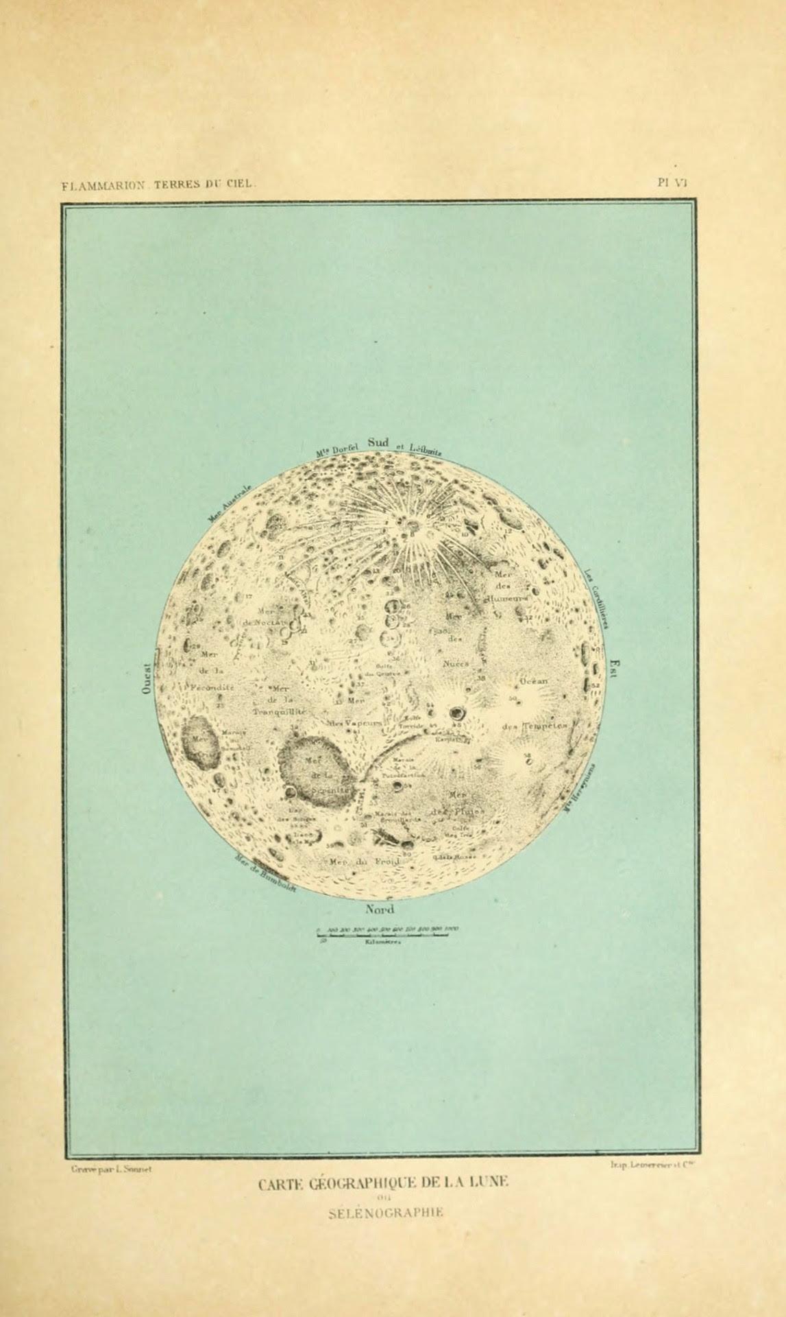 Camille Flammarion. Terres du Ciel. Carte Géographique de la Lune. (1884)