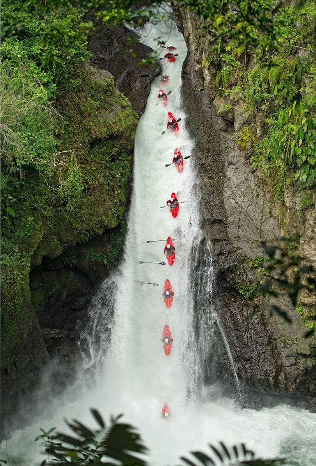 Gilman took this photo showing a dozen frames of Rush Sturges' sgoing down the Runs 90+ foot tall Lower Tomata Falls ns in Veracruz, Mexico - and losing his paddle part way down