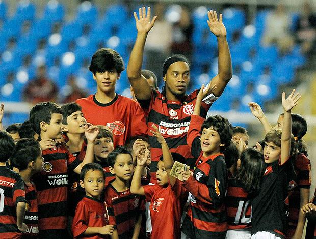 Ronaldinho na entrada de campo do Flamengo (Foto: Alexandre Loureiro / VIPCOMM)