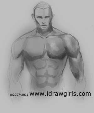 how to draw male upper body step 3