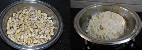 soaking cashew nuts for preparing Kesar kaju katli