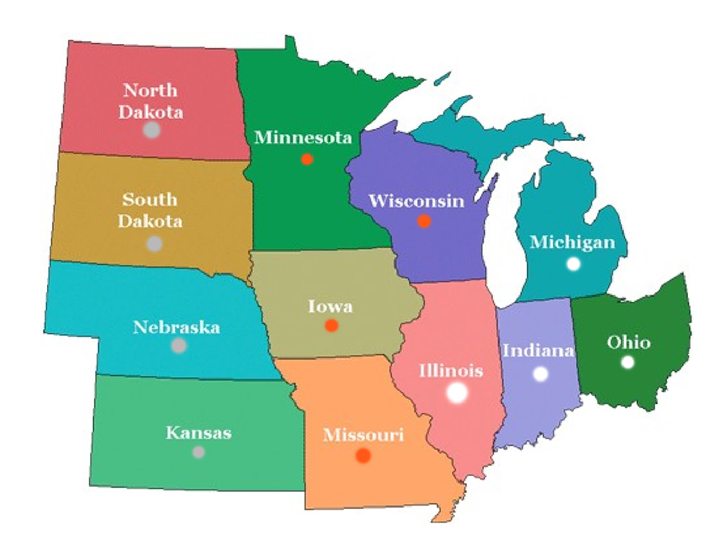 Map Of Middle Us States Us Midwest Region Map Games