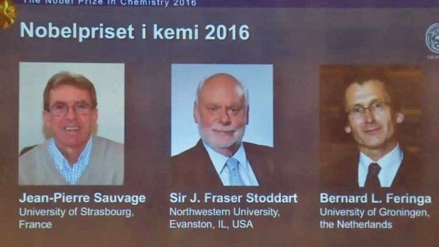 Jean-Pierre Sauvage, J. Fraser Stoddart and Bernard L. Feringa on Wednesday shared the 2016 Nobel Prize in Chemistry 'for the design and synthesis of molecular machines.'
