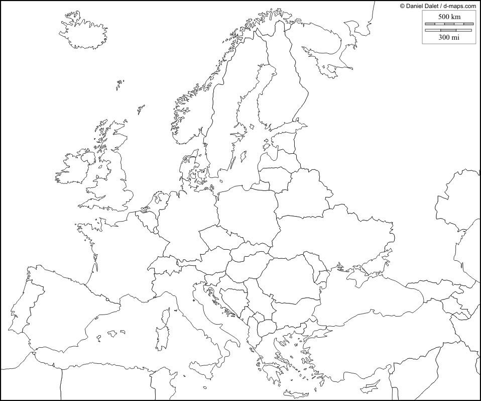 Cartina Muta Europa Centro Occidentale.Cartina Europa Muta Da Stampare Stampae Colorare