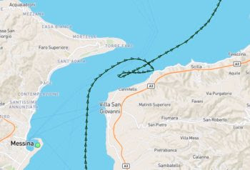 AIS shows the track of the Maersk Gustav. Credit. MarineTraffic.com
