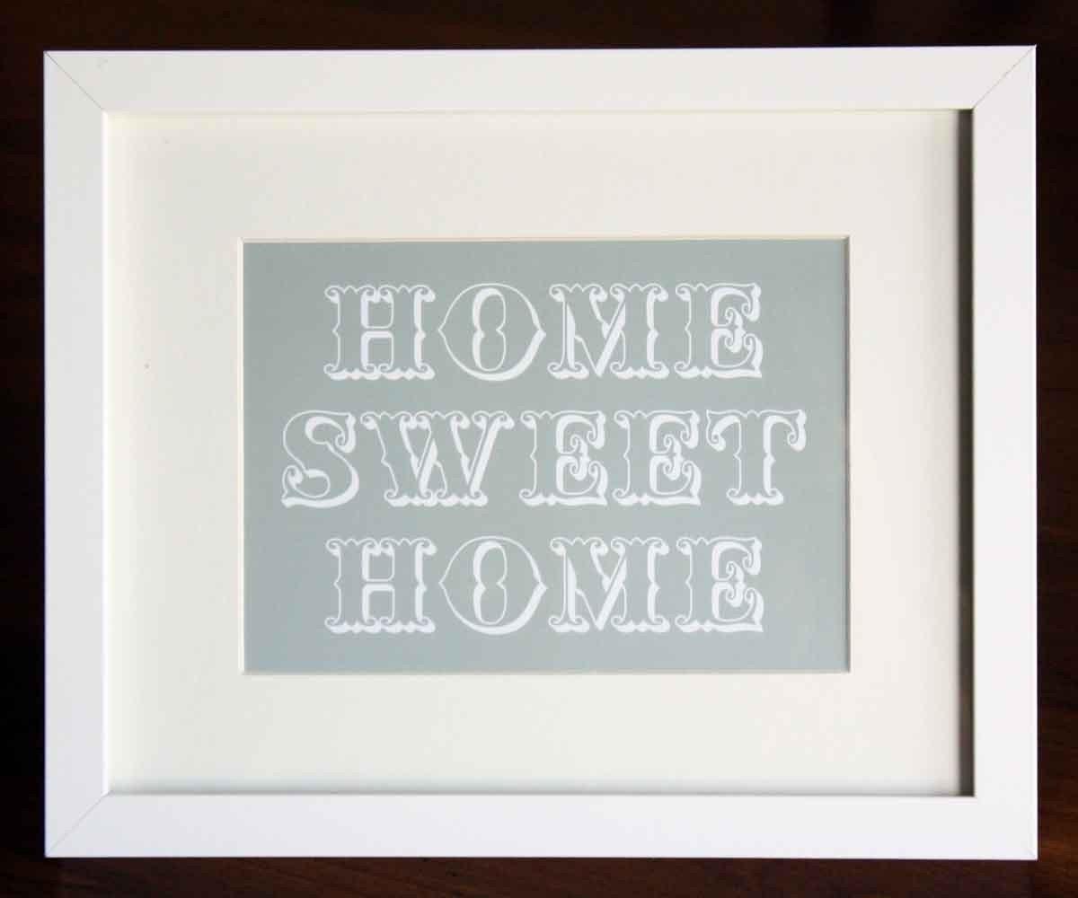Home Sweet Home Art Print 5 x 7 Grey  HALF OFF SALE