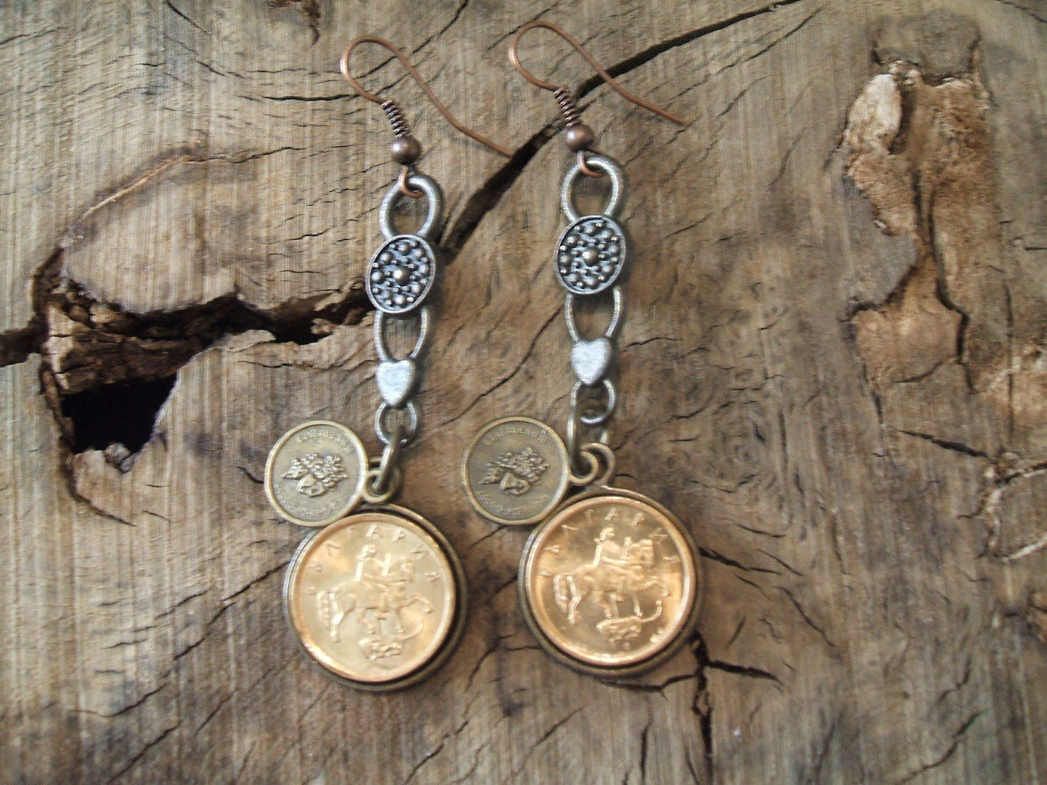 Bulgaria, Vintage Coin earrings - - Handmade - - Unique