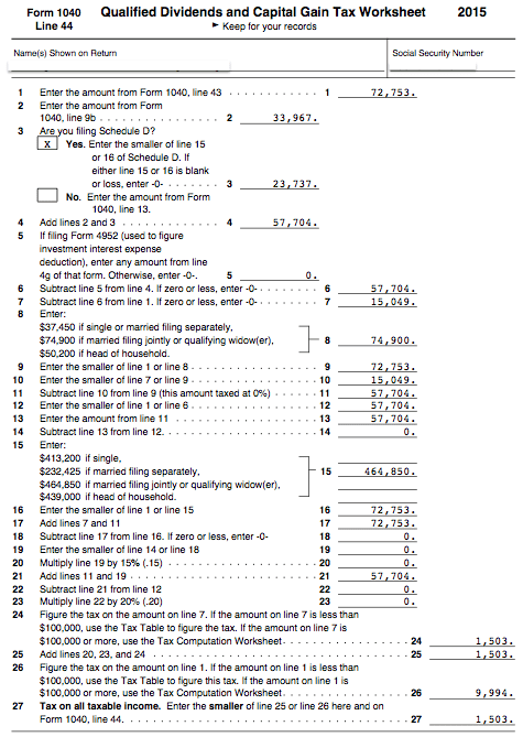 Qualified Dividends And Capital Gain Tax Worksheet Line 44 Promotiontablecovers