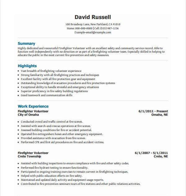 volunteer experience for resume