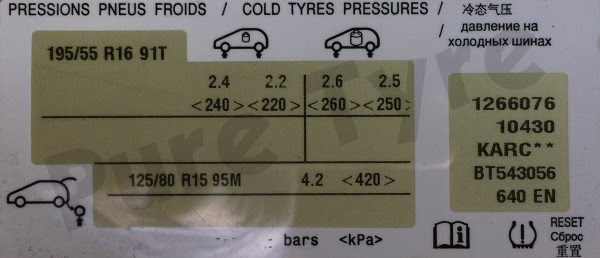 Citroen C3 Picasso Tyre Pressure Placard 19555r16 Pure Tyre 01603 462959