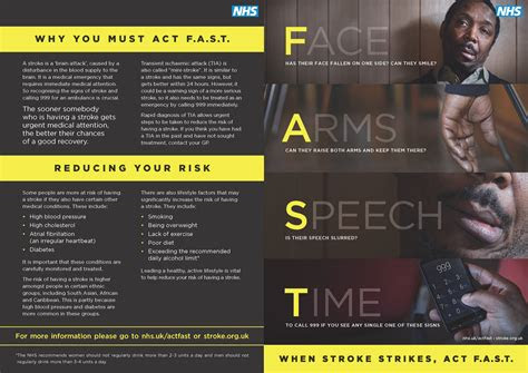 act fast leaflet describing  signs  symptoms